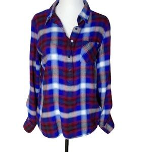 Tommy Hilfiger rayon plaid blue red button down blouse with collar size M